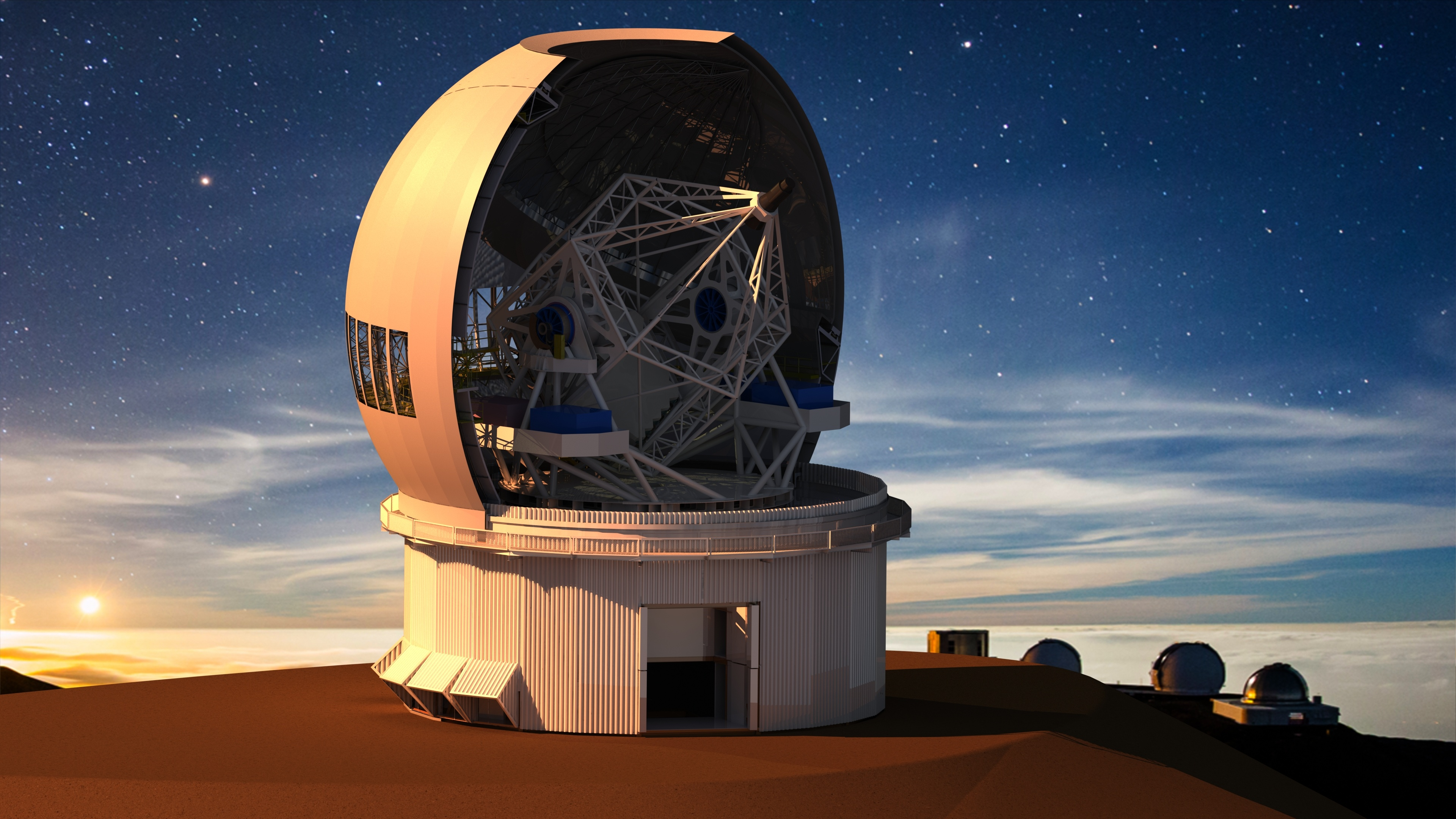 canada-france-hawaii-telescope-rendering-of-telescope-at-sunset